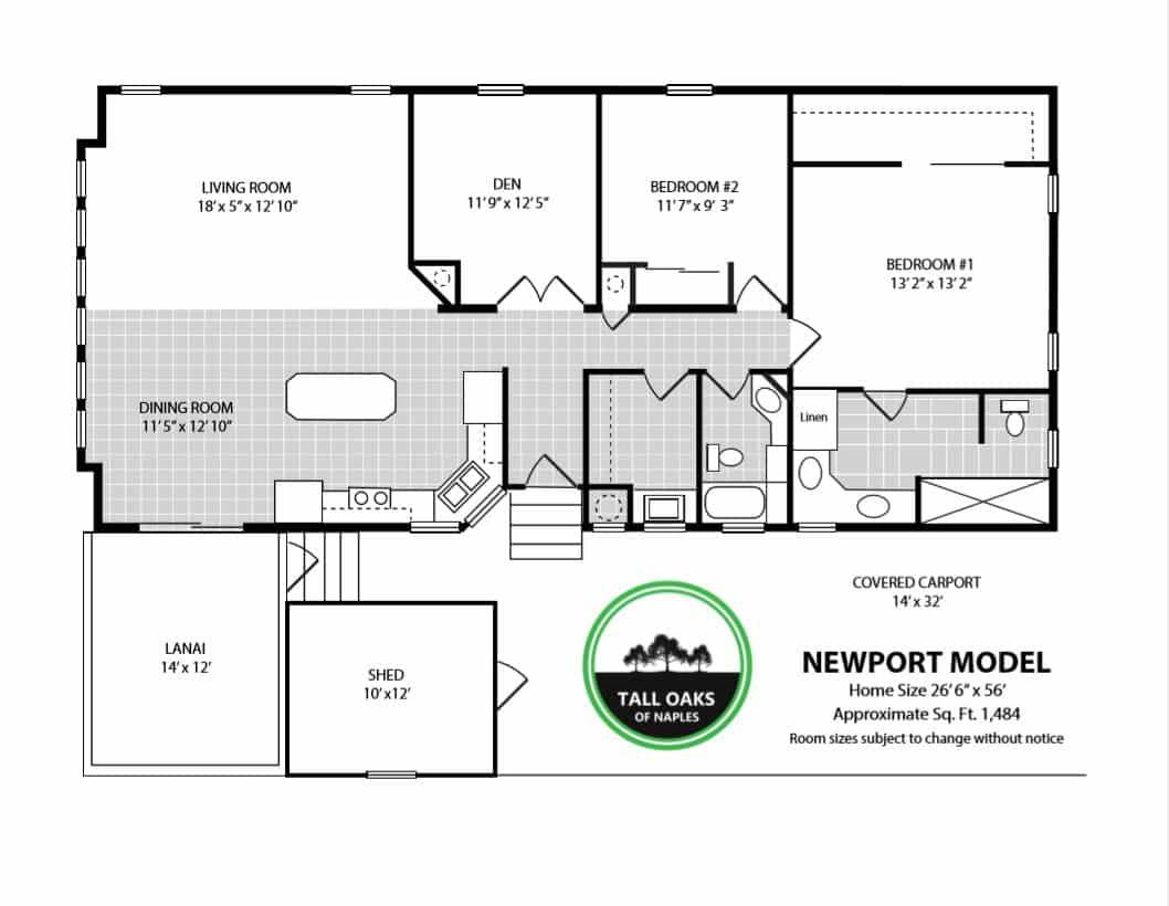 Naples, Florida 34113, 2 Bedrooms Bedrooms, ,2 BathroomsBathrooms,Manufactured Home,Floor Plan,1012