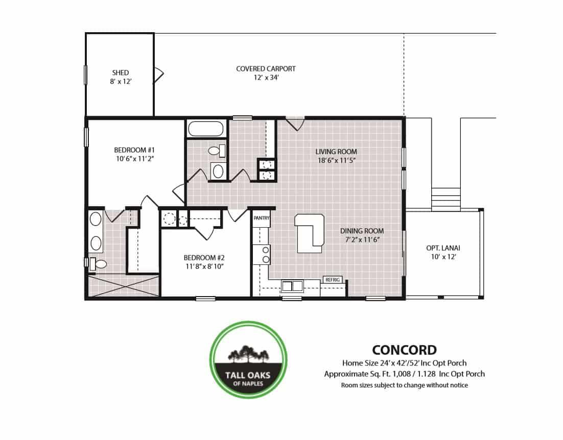 Naples, Florida 34113, 2 Bedrooms Bedrooms, ,2 BathroomsBathrooms,Manufactured Home,Floor Plan,1014